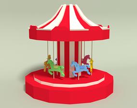 3D asset Low Poly Cartoon Carousel