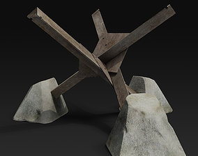 Anti tank obstacle 3D model realtime rusty