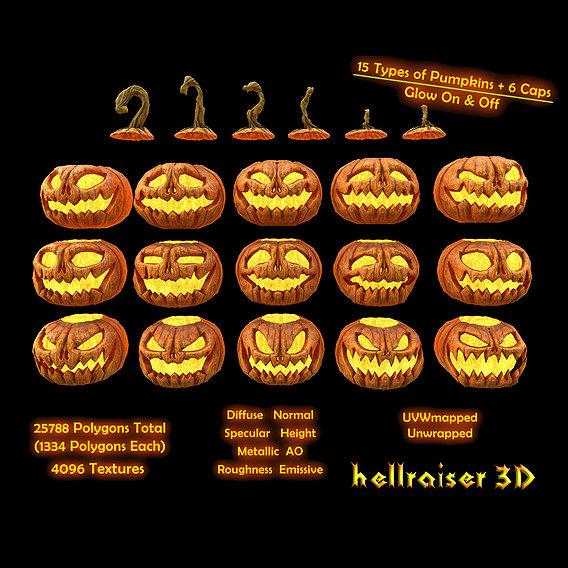 Pumpkins Set - PBR - Textured - Glow On Off