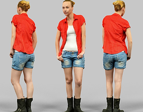 3D model Girl in jeans shorts and red shirt