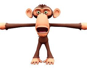 monkey cartoon rigged blend shape facial rig 3d rigged