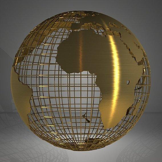 Golden Earth Globe on Spherical Grid