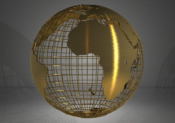 Golden Earth Globe on Spherical Grid