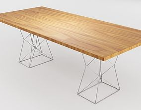 3D model VR / AR ready Geometric Shape Wooden Table