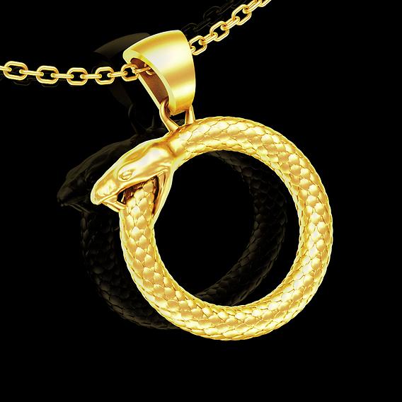 Orobus pendant jewelry gold necklace medallion Diamond 3D print model