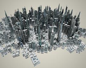 35 Futuristic LowPoly Buildings 3D asset