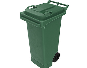 3D Plastic Wheelie Trash Bin