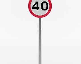 European Speed Limit Sign 2 3D
