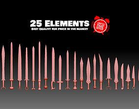 3D printable model 25 Swords Knives collection Medieval 3