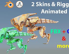 3D model Futuristic Raptoid Dinosaur Rigged Animated