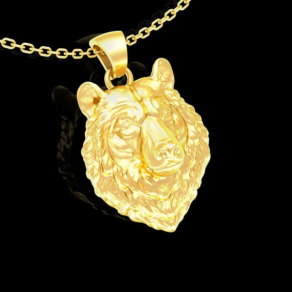 Bear Head Sculpture Pendant jewelry Gold 3D print model