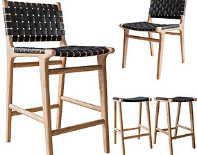 3D Flat and Leather Strapping Dining Chair and