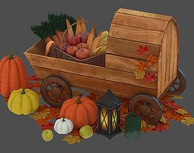 wheelbarrow with vegetables autumn leaves 3D model