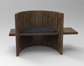 Chair handmade of old wood 3D model
