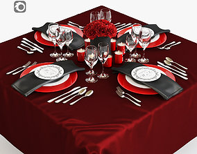 Serving with red roses 3D