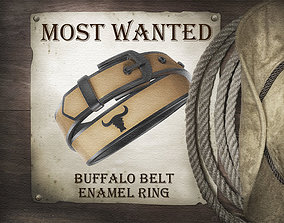 Buffalo belt enamel ring silver 3D printable model