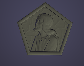 Jesus Christ in a pentagon 3D model for CNC and 3D
