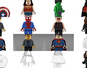 3D model Brick Minifigures - Superheroes