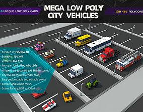 3D asset Mega Low Poly City Vehicles Pack