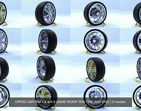 3D ORTAS CAR RIM 1-2-3-4-5 GAME READY RIM TIRE AND DISC