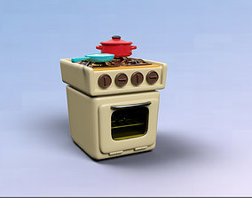A Cartoon Style Stove 3D model animated