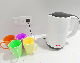 3D Teapot - Cups - Cable and Socket - 4 in 1