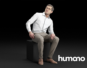 Humano Elegant Business Man in shirt Sitting 3D model 2