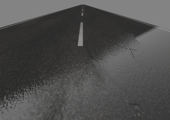 realistic road after rain