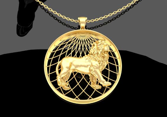 Lion Pendant Jewelry Gold 3D print model
