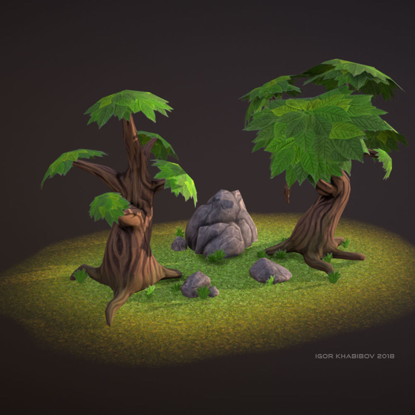 Set of low-poly trees & rocks