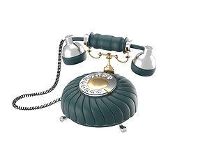 3D Retro styled phone in dark blue