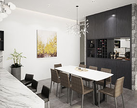 Dining room 3D model kitchen