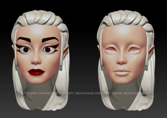 Stylized character concept (Head/face iteration)