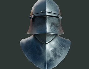 Medieval armor parts 002 - helmet 3D model realtime
