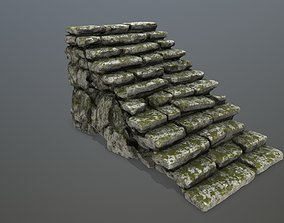 3D asset low-poly stairs moss