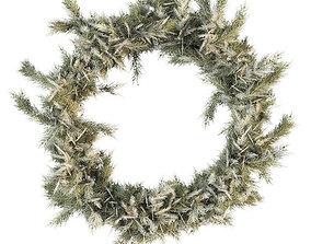 3D model Christmas wreath of coniferous branches