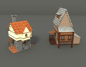 low poly house manor 3D asset realtime