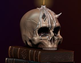 toys 3D print model Skull and books