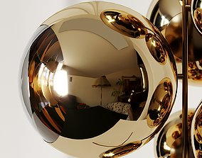 3D Mirror Ball Gold Stand Chandelier by Tom Dixon
