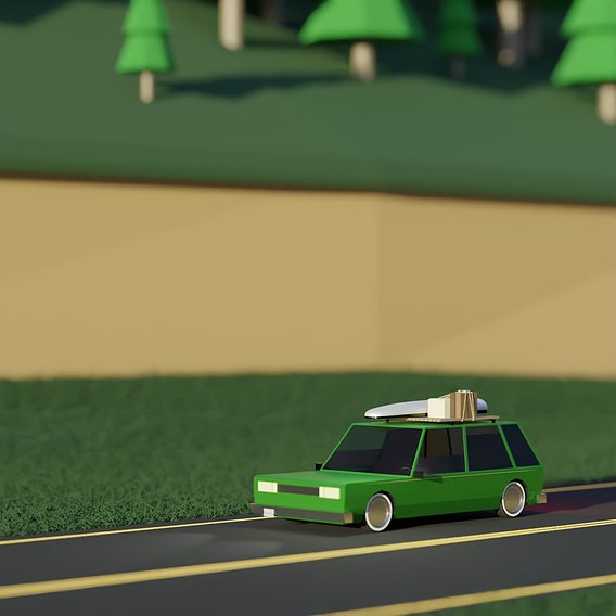 Low Poly Wagon Road Trip
