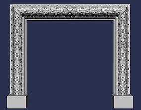 Oak Leaves Fireplace Mantel 3D model mantel