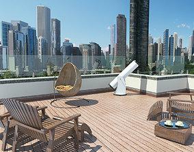 skyscraper rooftop patio 3D model