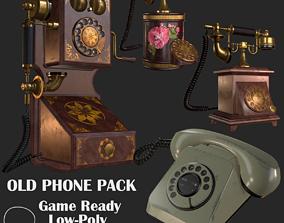 3D model Old Phone Pack PBR headphones