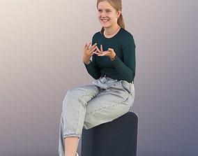 11316 Nele - Girl young sitting talking pretty 3D model 2
