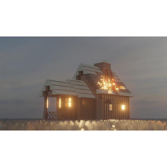 Lego burning building