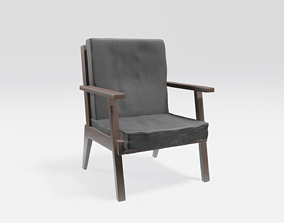 3D model bar lounge chair - wooden with black fabric