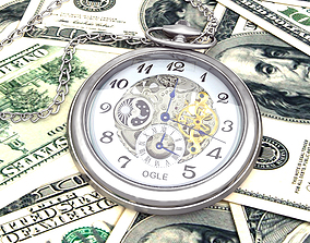 3D Time is money Watch and dollars