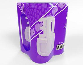 3D model 4x 250ml cans in a plastic shrinkwrap