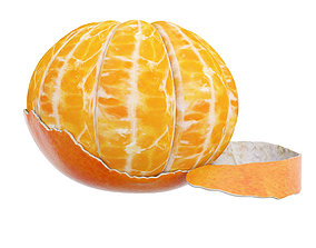 3D Peeled tangerine juicy