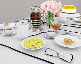 Tableware with orange cake 3D model